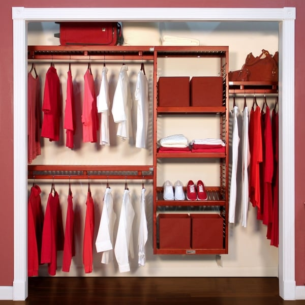Genial John Louis Home Red Mahogany Solid Wood Closet Organizer