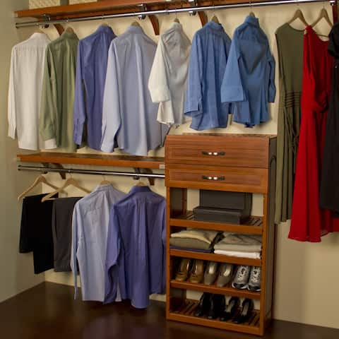 John Louis Deep Woodcrest Carmel Finish 12 Inch Closet System