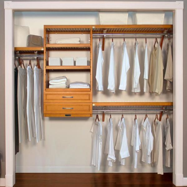 John Louis Home Woodcrest 16 inch Caramel Closet System - 16 inch closet door