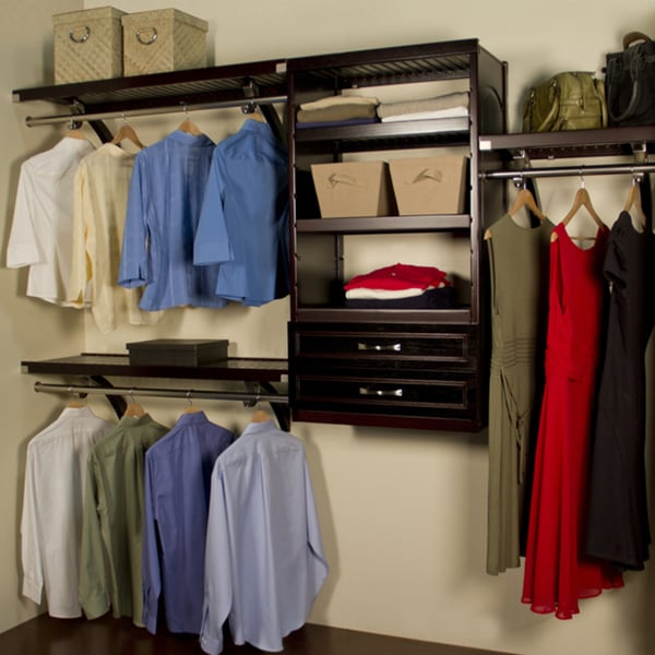 John Louis Home Woodcrest 16 Inch Espresso Closet System