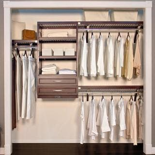 John Louis Espresso 16-Inch Deep Woodcrest Closet System|https://ak1.ostkcdn.com/images/products/7915140/John-Louis-16-Inch-Deep-Espresso-Woodcrest-Closet-System-P15293219.jpg?impolicy=medium