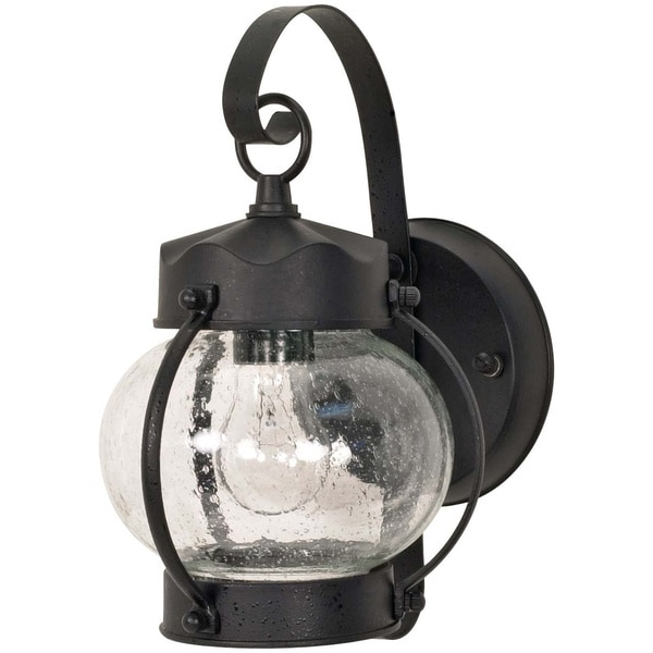 shop nuvo 1 light textured black onion wall lantern free shipping on orders over 45. Black Bedroom Furniture Sets. Home Design Ideas