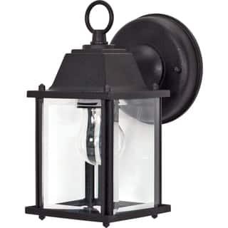Nuvo 1 Light Textured Black Cube Wall Lantern