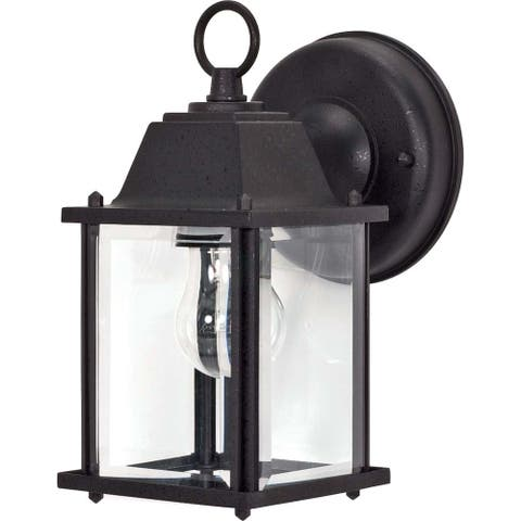 Nuvo 1-light Textured Black Cube Wall Lantern