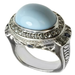 Michael Valitutti Blue Opal and Sapphire Ring