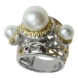 Michael Valitutti Two-tone Freshwater Pearl and Ruby Ring (10 mm)