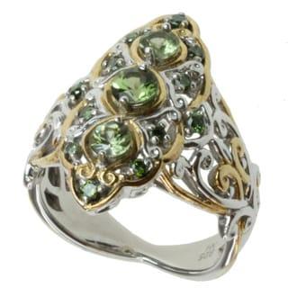 Michael Valitutti Two-tone Tashmarine and Green Diamond Ring