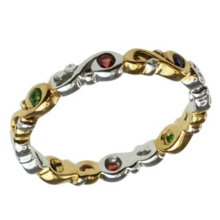 Michael Valitutti Two-tone Ruby, Chrome Diopside and Multi-sapphire Ring