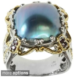 Michael Valitutti Two-tone Mabe Pearl and Pink Sapphire Ring (14 mm)