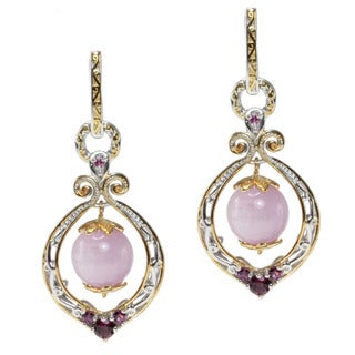 Michael Valitutti Two-tone Kunzite, Rhodolite and Pink Sapphire Earrings