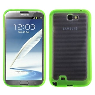INSTEN Clear/ Green Stripes Gummy Phone Case Cover for Samsung Galaxy Note II