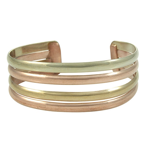 Handcrafted Mixed Metals 4 Row Cuff Bracelet (Mexico)