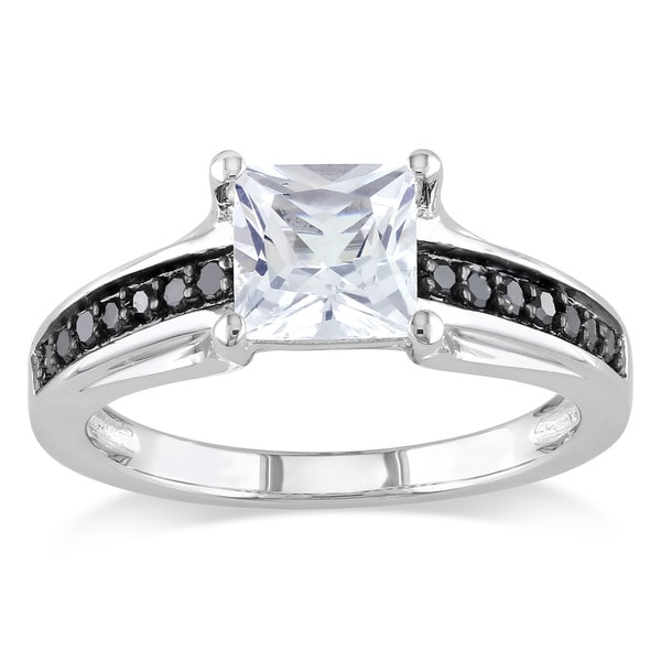 Miadora Sterling Silver Square-cut Created White Sapphire and 1/6ct TDW Black Diamond Engagement Rin