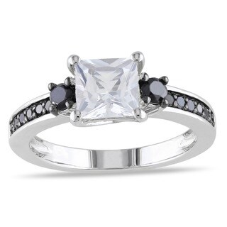 Miadora Silver Created White Sapphire and 1/3ct TDW Black Diamond Ring