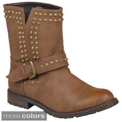 Journee Collection Women's 'Kacy-01' Studded Buckle Detail Boots