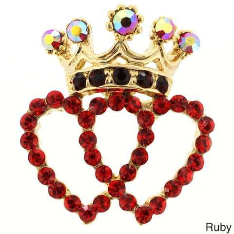 Goldtone Red Crystal Double Heart and Crown Brooch