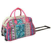 World Traveler Artisan Prints 21-inch Carry-on Rolling Upright Duffel Bag