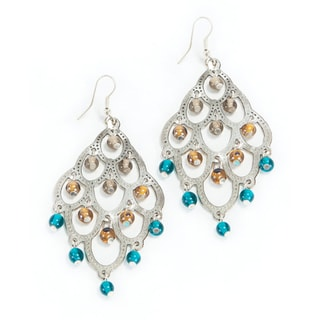 Silver and Teal Chandelier Earrings (India)