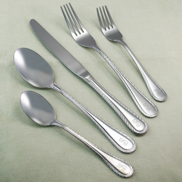 shop gretna personalized 45 piece stainless steel flatware. Black Bedroom Furniture Sets. Home Design Ideas