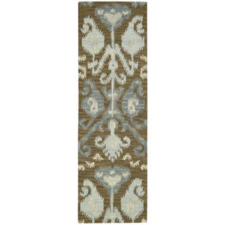 Hand-tufted Siam Mocca Ikat Motif Runner Rug (2'3 x 7'6)