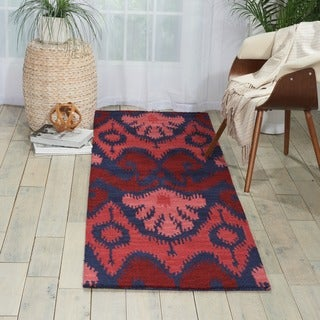 Hand-tufted Siam Red/ Navy Blue Runner Rug (2'3 x 7'6)