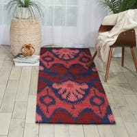 Hand-tufted Siam Red/ Navy Blue Runner Rug (2'3 x 7'6) - 2'3 x 7'6