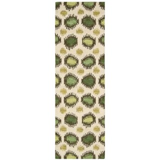 Hand-tufted Siam Ivory Lime Green Pattern Runner Rug (2'3 x 7'6)