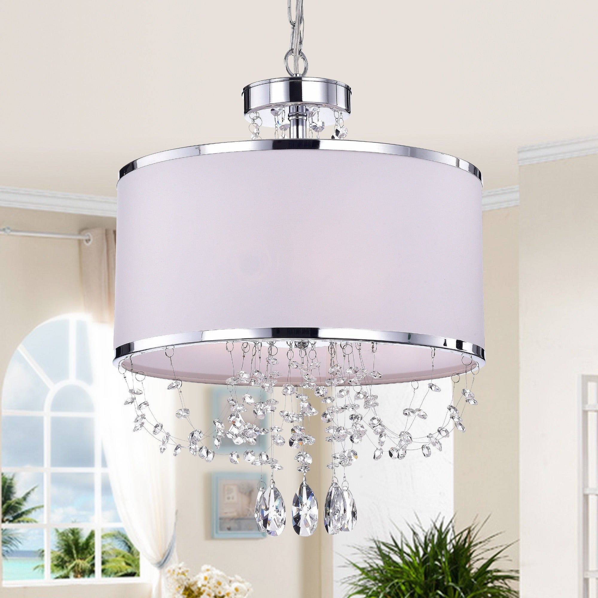 Hera Shaded Crystal Detailed 4 Light Chandelier Overstock 7915736
