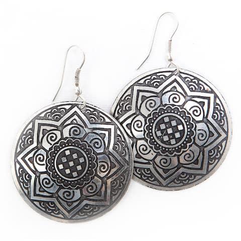 Handmade Brass Sun Medallion Earrings (India)