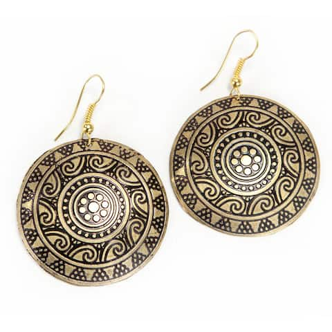 Handmade Gold Colored Brass Sun Medallion Earrings (India)