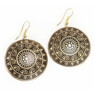 Gold Colored Brass Sun Medallion Earrings (India)