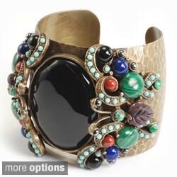 Sweet Romance Gemstone Butterfly Black Stone Cuff Bracelet