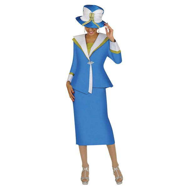 Divine Apparel Women's Periwinkle Rhinestone Detailed Skirted Suit