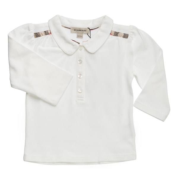 Burberry Girls' Off White Long Sleeve Check Polo