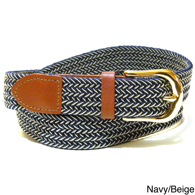 Goldtone Men's Twin Color Woven Stretch Belt (Navy/Beige ...