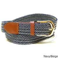 Men's Twin Color Leather/Nylon Woven Stretch Belt