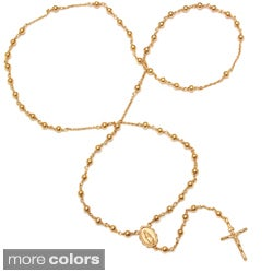 14k Gold Overlay Polished Bead Rosary Necklace