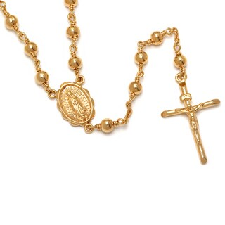 Gold Overlay Polished Bead Rosary Necklace
