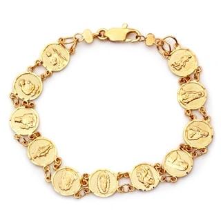 Gold Plated Bronze Saints Medal Bracelet (7 Inch)