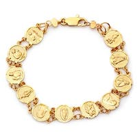 Gold Plated Bronze Saints Medal Bracelet (7 Inch)