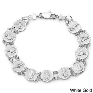 Sterling Essentials 14k Gold Overlay Saint Medal 7-inch Bracelet