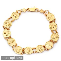 Sterling Essentials 14k Gold Overlay Children's 6-inch Saint Medal Bracelet