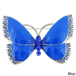 Silvertone or Goldtone Crystal and Enamel Butterfly Brooch