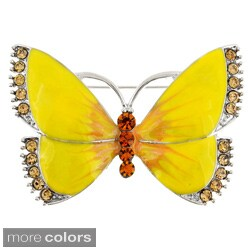 Silvertone or Goldtone Crystal and Enamel Butterfly Brooch