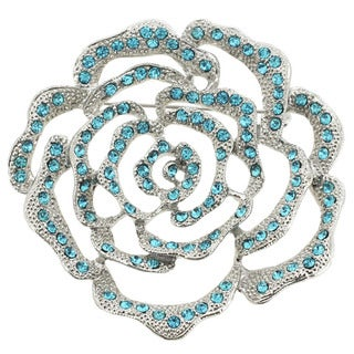 Silvertone Blue Crystal Open Flower Brooch