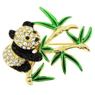 Goldtone White and Black Crystal Panda Brooch
