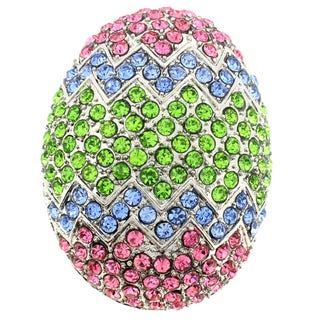 Silvertone Pink, Blue and Green Crystal Painted Egg Brooch