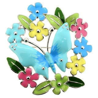 Silvertone Blue, Pink, Yellow and Green Butterfly Flower Wreath Brooch