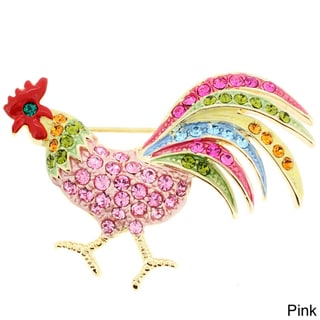 Silvertone Colored Crystal Vintage Rooster Brooch