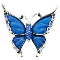 Silvertone Blue Crystal Butterfly Brooch